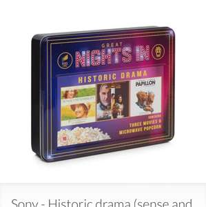Sony - Historic Drama Sense and Sensibility, first knight, papillon DVD Set £5.55 @ Debenhams -free microwave popcorn included -free delivery