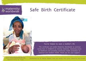 Alternative Mother's Day gift buy a safe birth certificate and help a women give birth safely with Maternity worldwide