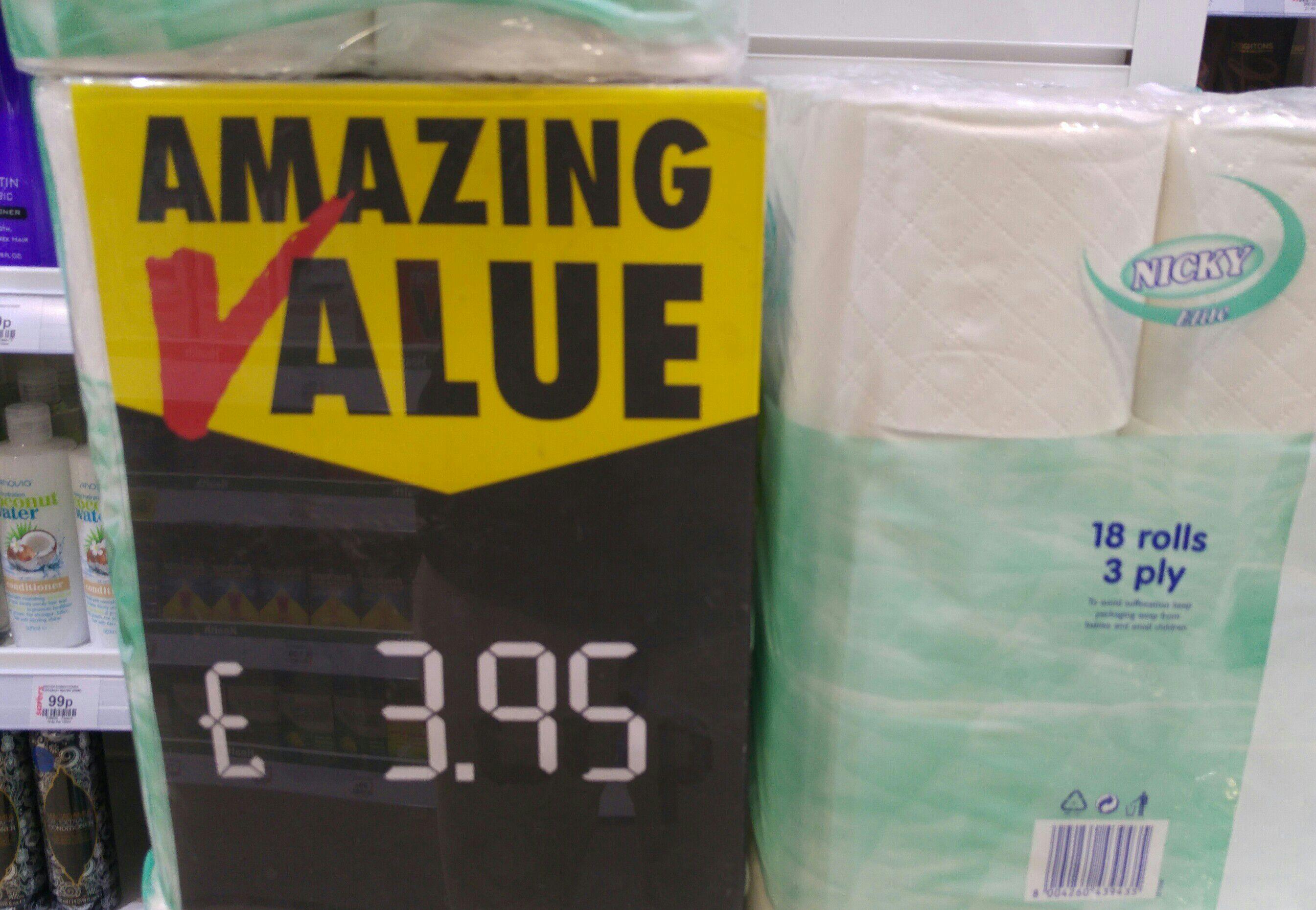 Toilet paper roll £3.95 at Savers Bridgwater