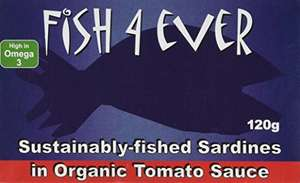 Fish 4 Ever Whole Sardines in Organic Tomato Sauce 135 g (Pack of 5) £2.89 - Amazon Add on Item