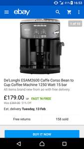 Delonghi esam2600 caffe corso bean to cup coffee machine £179 @ AO ebay