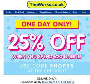 The Works 25% off a £20 spend Today only
