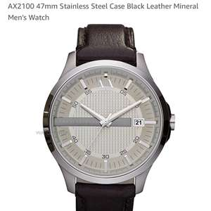 Armani Exchange:  AX2100 47mm Stainless Steel Case Black Leather Mineral Men's Watch £79.99 Sold by Luzern and Fulfilled by Amazon.