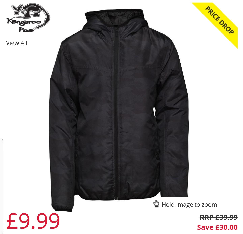 Kangaroo Poo Boys Camo Printed Hooded Jacket Black/Multi £9.99 + £4.49 del @ M&M direct