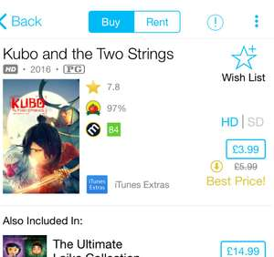 Kubo and the Two Strings - £3.99 - HD iTunes