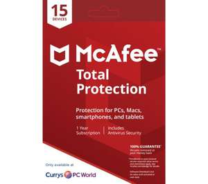 MCAFEE Total Protection 2018 - 1 year for 15 devices. Was £69.99 now £19.99 @ Currys