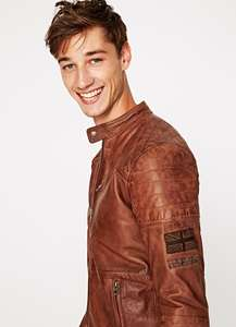Pepe Jeans LEATHER MOTORCICLE JACKET 'LENNON 18' down to £100!