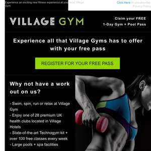Free gym and pool pass for VILLAGE HOTEL's