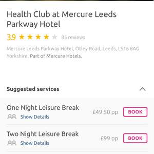 Spa break for two with hotel stay in Leeds with 3 course meal and full breakfast next morning £49pp @ Last minute