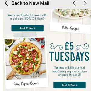 Meal for £5 pp on a Tuesday @ Bella Italia