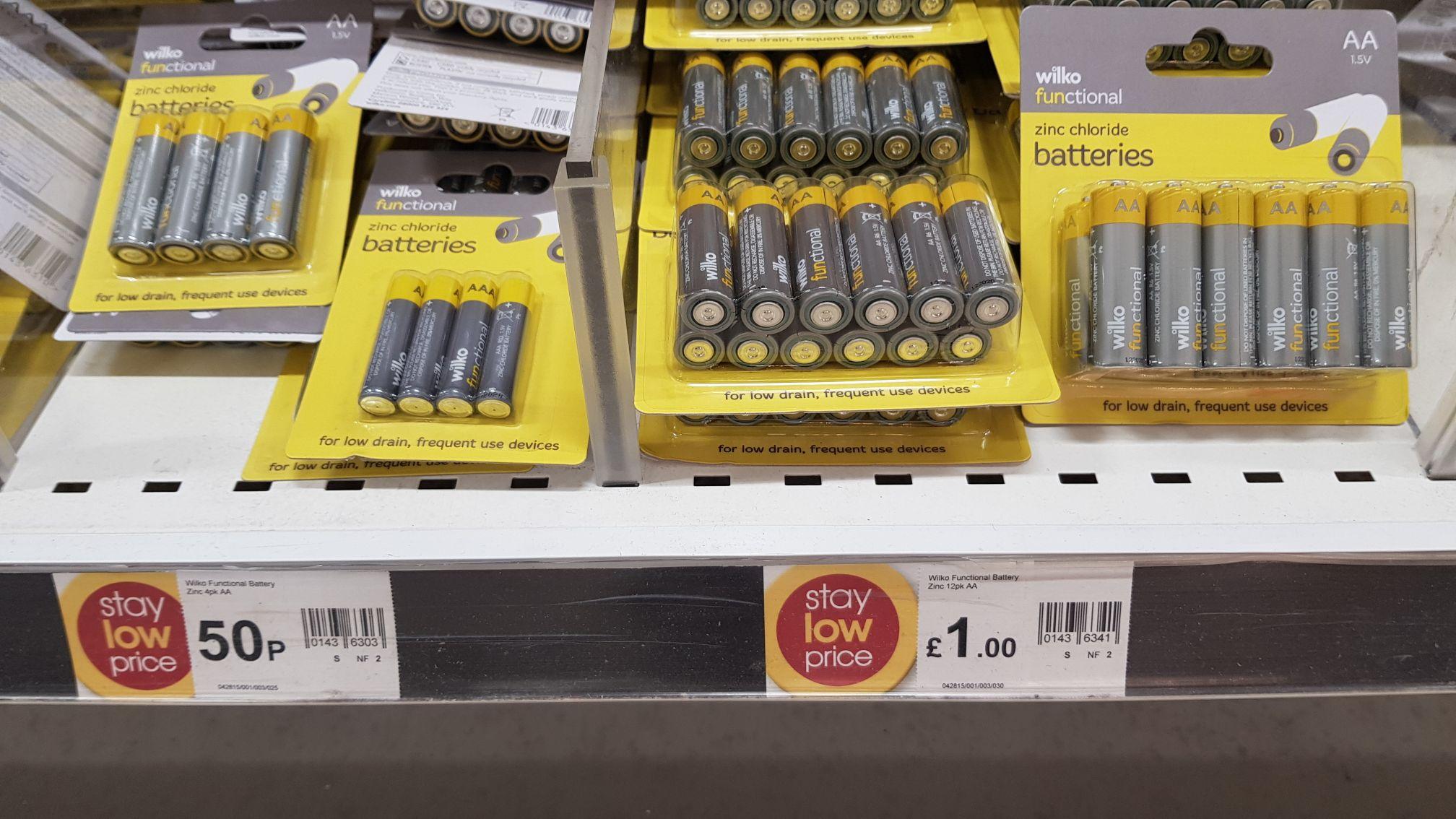 Wilko Functional Zinc Chloride Batteries AA 1.5V 12pk £1 @ Wilko Bradford