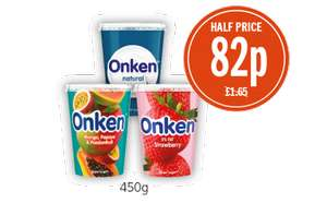 Onken Mango/Papaya and Passionfruit Bio, Natural Smooth, Strawberry Yoghurts 82p @ Budgens