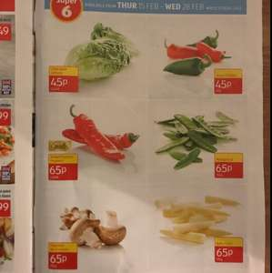 Aldi Super 6: Little gem lettuce 45p 2 pack / Mixed Chillies 45p 65g / Sweet Pointed Peppers 65p 2 Pack / Mangetout 65p 155g / Chestnut Mushrooms 65p 250g / Baby Corn 65p 135g