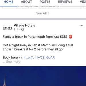Village hotel room and breakfast Portsmouth for 2 £35