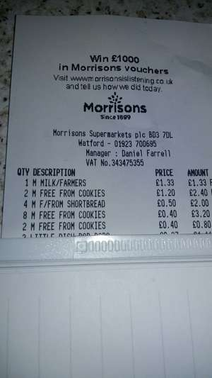 Morrisons free from biscuits 40p instore