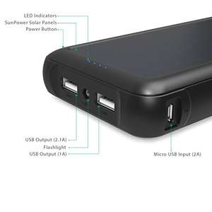 AUKEY Solar Portable Charger 20000mAh with SunPower Solar Panel ONLY £12.99 Prime / £17.74 Non Prime using voucher @Amazon