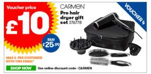 Carmen Pro Hair Dryer Gift Set £10 @ JTF