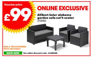 Allibert Keter Alabama Garden Sofa Set 4 Seater £99 @ JTF