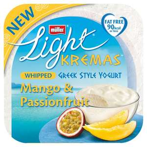 Muller light 4 X 100g  Kremas whipped Greek style yogurt strawberry OR mango £1 @ Morrison's