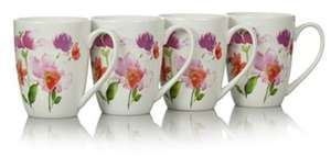 Watercolour set of 4 dishwasher\ microwave safe mugs now £3.50 @ asda george