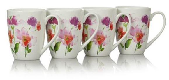 Watercolour set of 4 dishwasher\ microwave safe mugs now £3.50 @ asda george