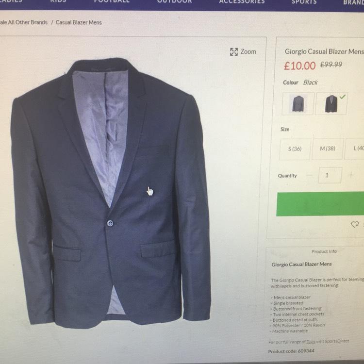 Giorgio Casual Blazer Mens (S or M) £10 + £4.99 P&P/C&C @ SportsDirect