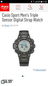 Casio Sport Men's Triple Sensor Digital Strap Watch £66.99 at Argos