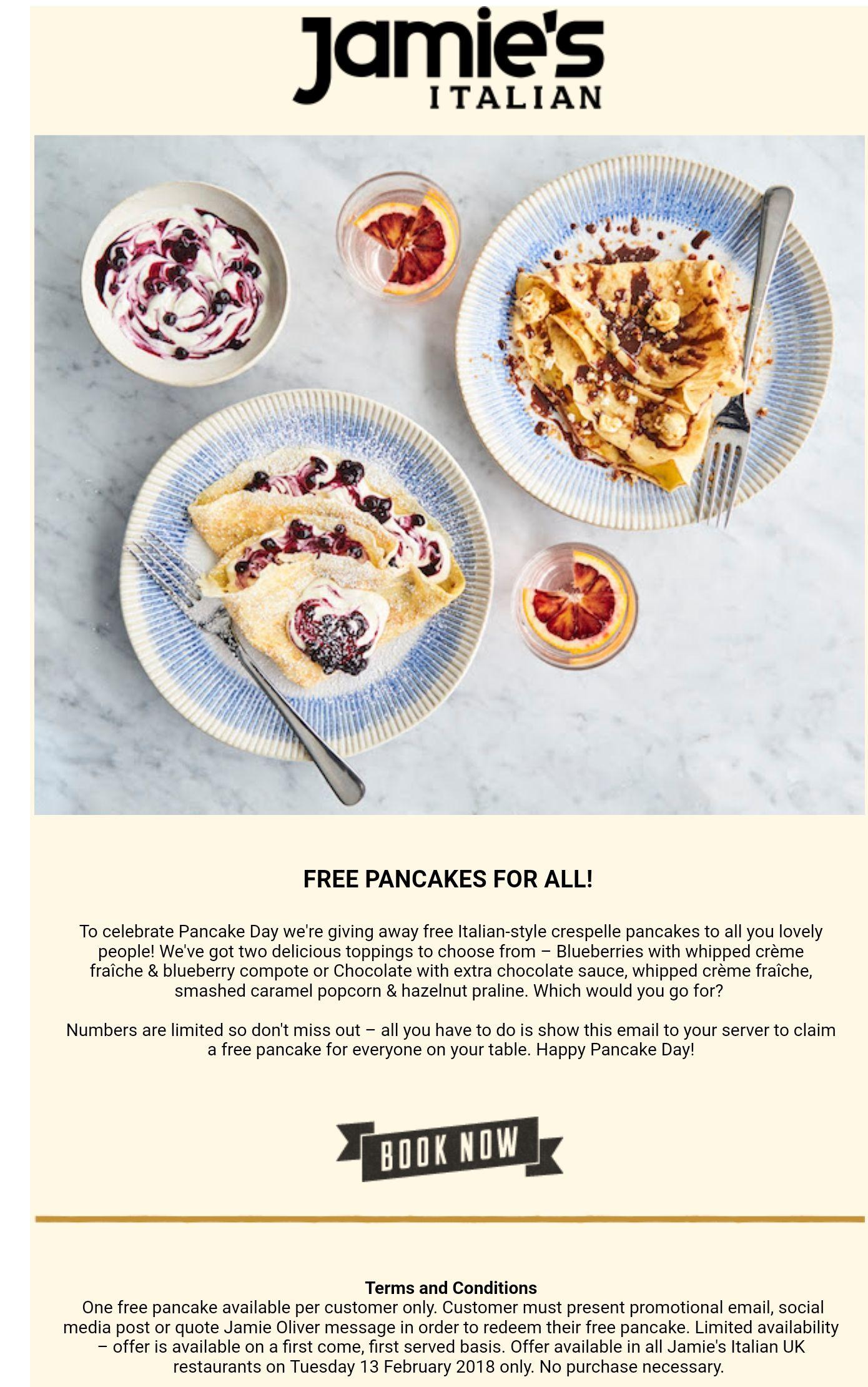 Free Pancake at Jamie's Italian
