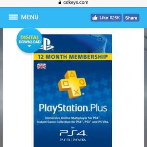 12 months ps plus UK £39.79 / £37.81 with code @ CD Keys