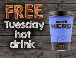 Pick up your free hot drink from Caffè Nero and O2 Priority, from 12pm.