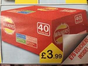 Walkers variety box 40 pack classic flavour crisps £3.99 @ Farmfoods