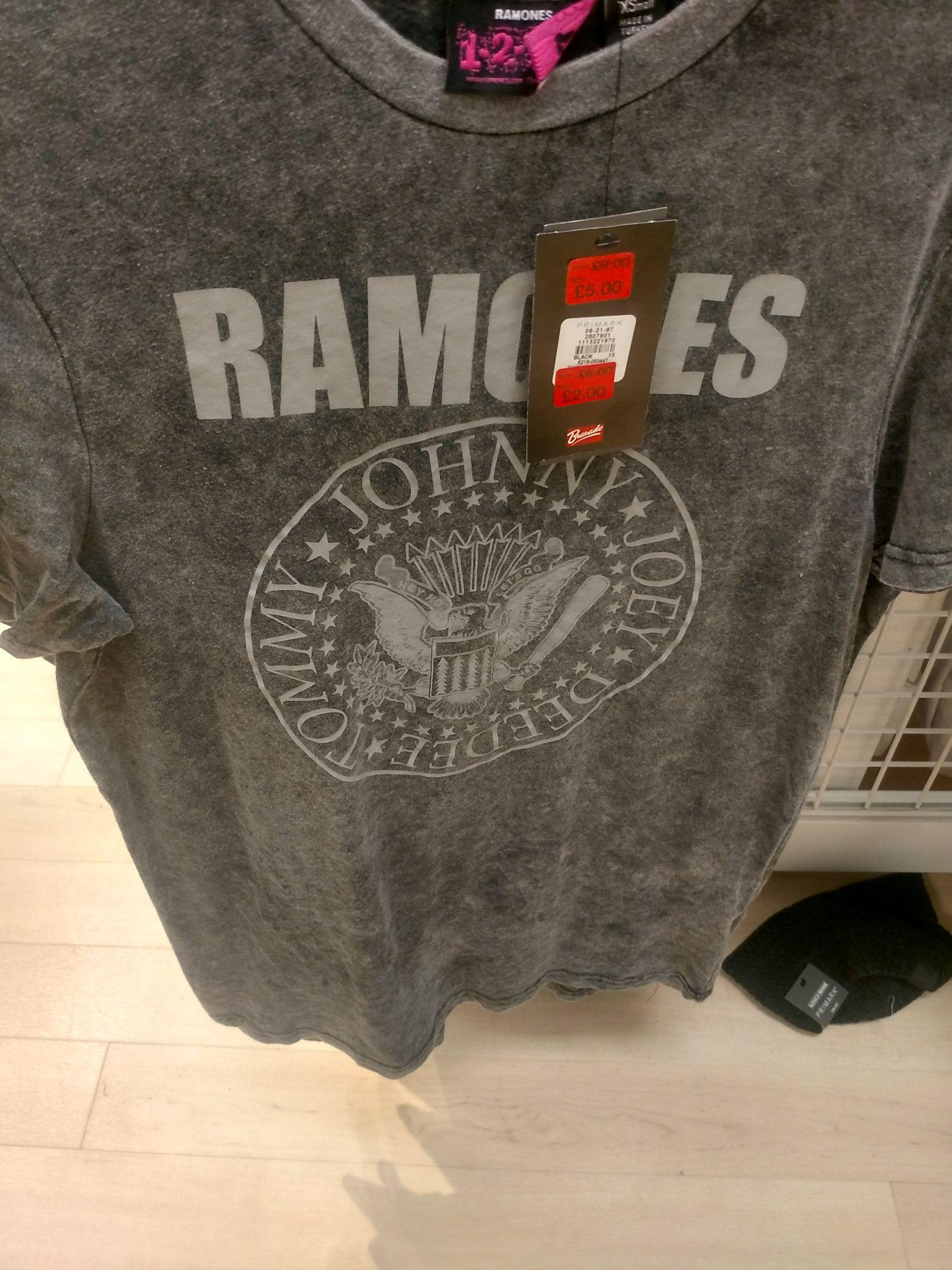 Ramones Tee shirts £2 in Primark