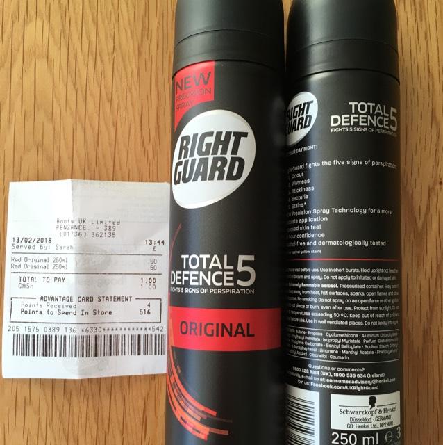 RightGuard Anti-Perspirant 50p @ Boots - Penzance