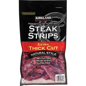 Kirkland Signature Extra Thick Cut Steak Strips, 300g (works out around £1.10 per 30g at normal price including post) £10.99 Posted @ Costco or £8.69 instore