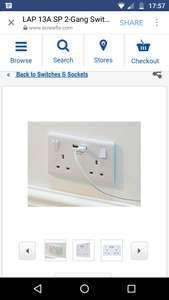 LAP 13A SP 2-GANG SWITCHED SOCKET & USB CHARGER PORT WHITE£3.49 @ Screwfix