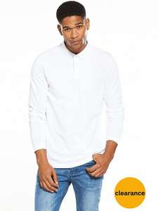 V by Very Long sleeve pique polo top (White) at Very.co.uk