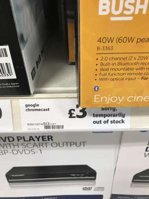 Google chromecast at Sainsbury's -£3 (instore - Leicester)