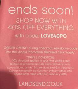 40% off everything at Landsend excludes sale