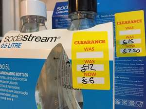Soda Stream bottles half price sale in Dunelm: 2x 0.5 litre bottles for £6  2x 1 litre bottles for £7.50