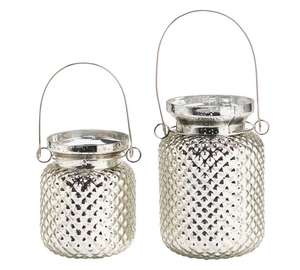 Set of 2 silver coated blown glass handled jars reduced to £3.99. @ argos
