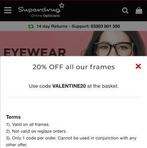 20% Off Superdrug Glasses Frames