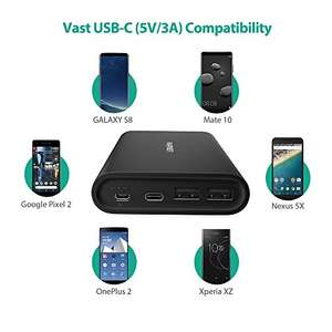 USB C Portable Charger 26800 RAVPower 26800mAh Power Bank with Dual Input Port Battery Pack (iSmart 2.0, 5V/3A Type-C Port) £29.99 delivered Sold by Sunvalleytek-UK and Fulfilled by Amazon