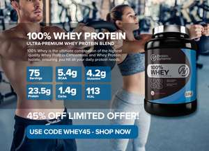 45% off Protein Dynamix 100% Whey 2.27kg (75 Servings) £19.25 / £23.24 delivered