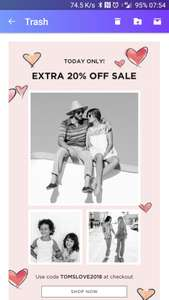 Toms UK 20% off today only