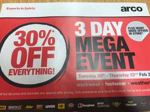 Arco 30% off everything instore - 20th - 22nd Feb.