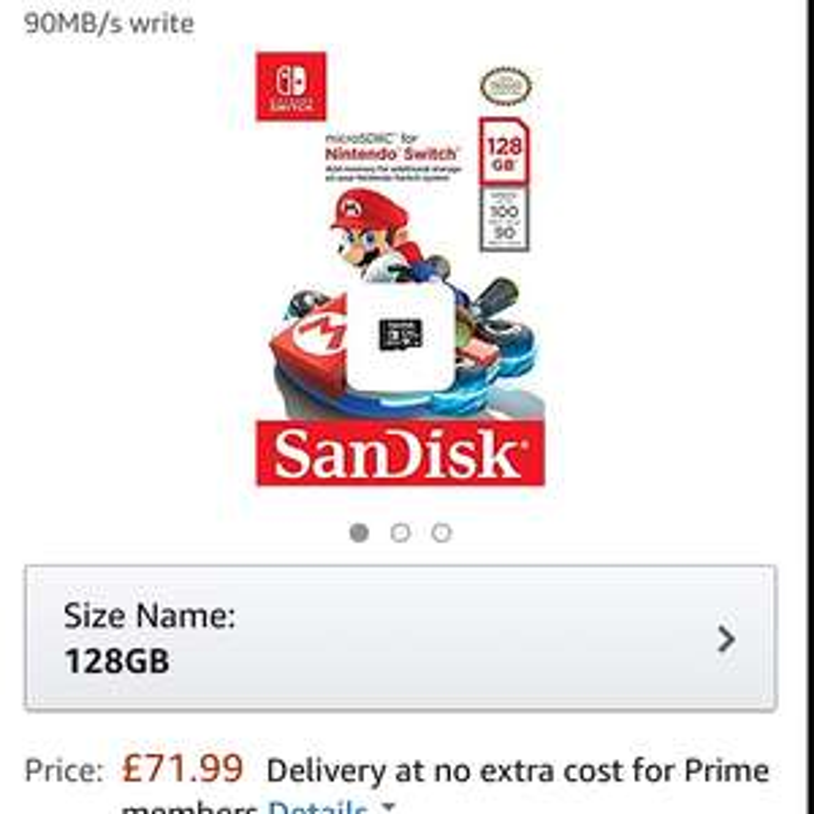 Nintendo Switch Sandisk 128GB SD card £71.99 @ Amazon