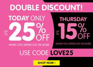 25% off £10 Spend Today 15% off Thursday with Code LOVE25 @ The Works