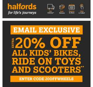 Extra 20% off all kids bikes & scooters at Halfords with code