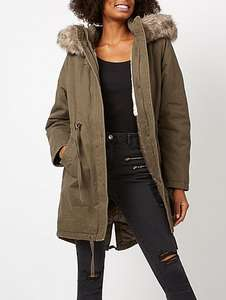 Ladies coat sale ,eg longline faux fur trim fleece lined parka sizes 16,18  better than half price was £45 now £20 @ asdageorge