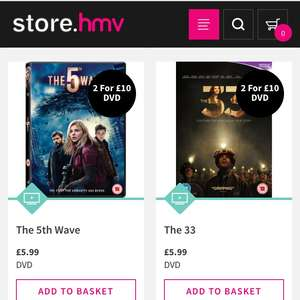 2 For £10 or 5 For £20 DVD's @ HMV